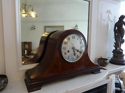 Antique W/German Inlaid Mahogany, Napoleon Hat Striking Mantel Clock With Key