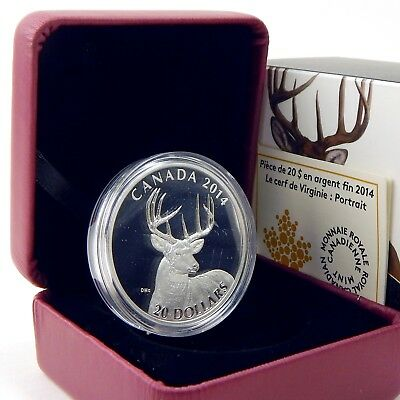 2014 $20 Canada White Tailed Deer Portrait Proof .9999 Silver Box + COA A6175