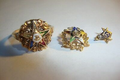 Vtg Eastern Star Mason 10k Gold Ring w/ Gemstones & 10k Gold Pins Enamel 4.8g