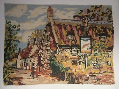 Vintage wool tapestry FOX COUNTRY PUB  Penelope Briggs & Co 32 x 44 cm