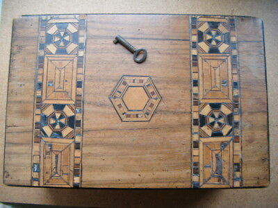 wood box with lock & key - cigar box size , marquetry  / parquetry inlay - aged