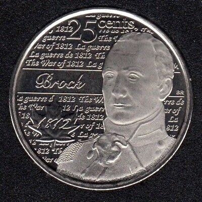 Canada 2012 War of 1812 Brock Frosted 25 Cents UNC Gem BU!!