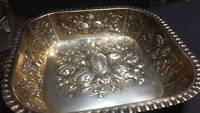 310g 1909 TRAY HEAVY CARVING SEVERAL FLOWERS BOUQUET SOLID SILVER 916:ESPUÑES HM