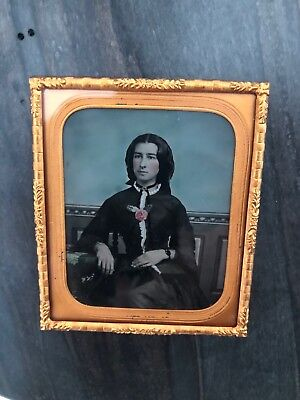 1860's Beautifully Tinted 1/6 Plate Ambrotype - Excellent Condition - LOOK