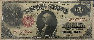1917 $1 Dollar Red Seal U.s. Legal Tender Note Large Size Currency Sawhorse