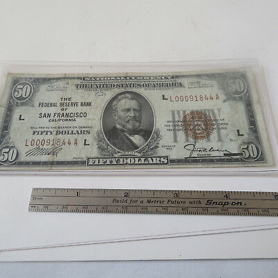 U.s. $50. National Currency Note 1929 The Federal Reserve Bank Of San Francisco