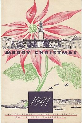 1941 Christmas Day Dinner Menu United States Naval Air Station, San Diego, Calif