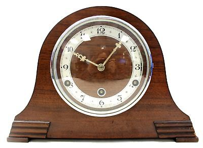 Vintage Wood FEDERAL Wind-Up Chime MANTLE CLOCK – No Key, Untested - N44