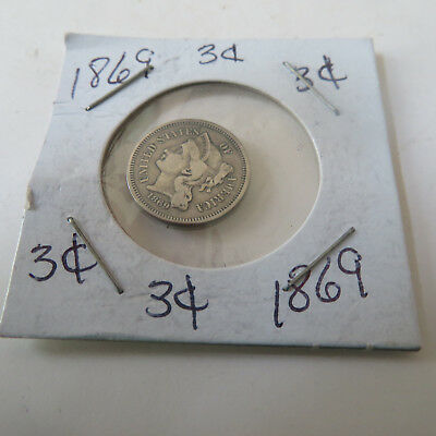 Coin U.s.  1869   3 Cents Silver