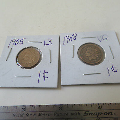Coin U.s.  Indian Head   One Cent  1905 And 19098
