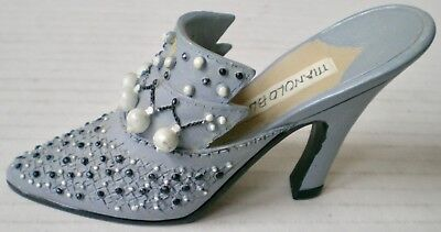 Miniature Collectible Mule Shoe Figurine Faux Pearl Beads Gray Grey Manolo Blnky