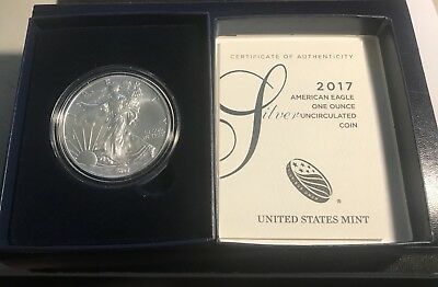 2017-W Burnished  American Silver Eagle Uncirculated with OGP