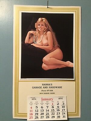 Vintage Advertising Calendar HANNA'S GARAGE and HARDWARE 1976 New Harbor, Maine