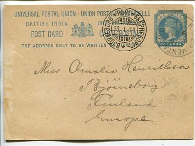 India one anna postal card to Finland. Experimental PO 1911