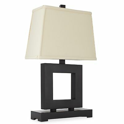 square bronze metal base linen fabric shade table accent lamp