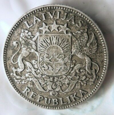 1924 LATVIA LATS - Excellent Pre-Soviet Silver Coin - Strong Value - Lot #813