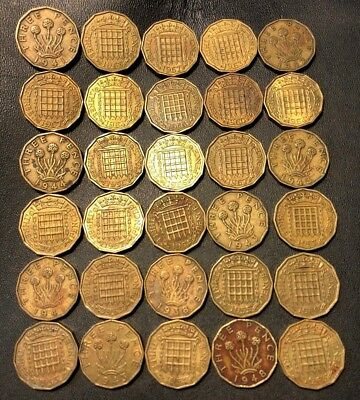 Vintage Great Britain Coin Lot! 1938-1967 - 3 PENCE - 30 Excellent Coins - #813