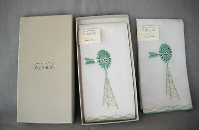 NOS VINTAGE MARGHAB WINDMILL GUEST FINGERTIP TOWELS IN BOX W/TAGS PRISTINE x2