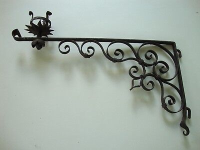 Antique Vintage Large Hand Hewn Wrought Iron Gothic Mission Wall Hook Candle