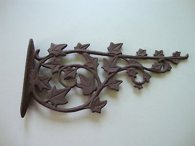Antique Vintage Large Wrought Iron Ornate Ivy Victorian Decorative Wall Hook
