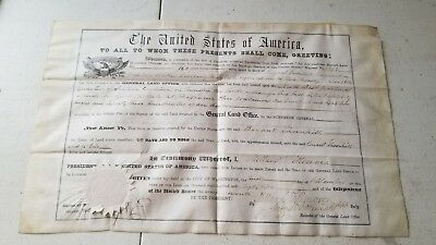 1852 Military Land Bounty Warrant Signed President Millard Fillmore Signature