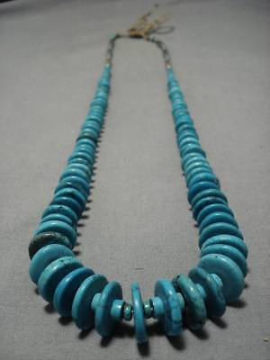 Amazing!! Vintage Navajo Graduating Spiderweb Turquoise Sterling Silver Necklace