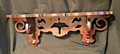 Antique Vintage Hand Carved Wood Wall Shelf Solid Victorian Style