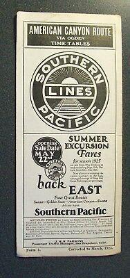 Sp Southern Pacific Lines - American Canyon Route Via Ogden - Ptt March 1925