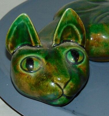 Vintage MID CENTURY MODERN Ceramic GREEN CAT Signed