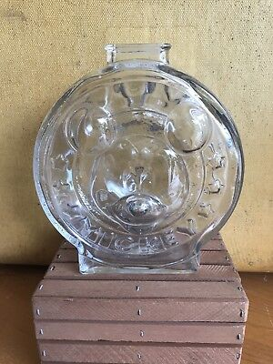 Vintage Anchor Hocking Clear Glass Bank Disney Mickey Mouse Minnie Mouse