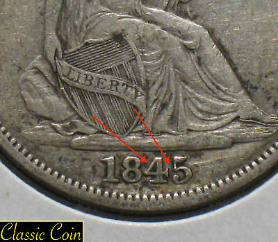 1845-O Silver Seated Liberty Half Dollar 50c VF+ Details 90% Sil. Repunched Date