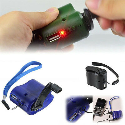US USB Portable Hand Crank Emergency Dynamo Charger Generator Cell phone Mobile