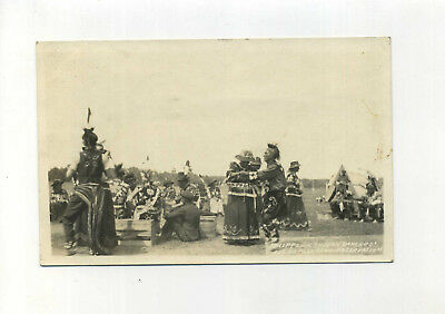 Real Photo Postcard Chippewa Indian Dancers Lacouflas Beau Reservation WI vtg