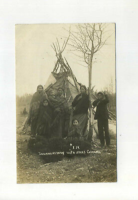 Real Photo Postcard Indians Native American Teepee Christmas GreensWoodruff WI