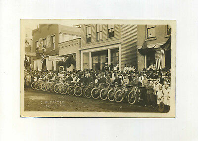 Real Photo Postcard Harley Davidson Motorcycle Lineup Cambridge WI vtg antique