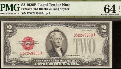 Unc 1928 F $2 Two Dollar Bill United States Legal Tender Red Seal Note Pmg 64