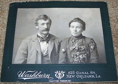 ANTIQUE 1880's - 90's CABINET PHOTO: MAN & WIFE, NEW ORLEANS STUDIO CANAL STREET