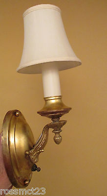 Vintage Lighting matched pair brass 1920s pan style sconces