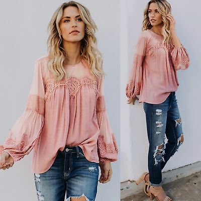 New Womens Fashion Sexy Lace Long Puff Sleeve Loose Blouse Shirts Crew Neck Tops