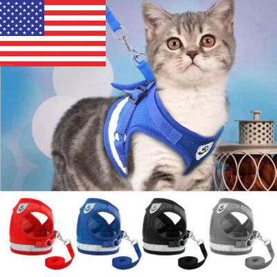 Adjustable Small Pet Cat Dog Reflective Walking Harness Vest with Lead Leash USA