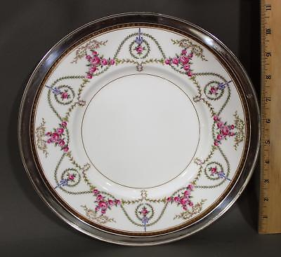 Antique Mintons Hand Painted Floral Swag Sterling Mounted Rim Dinner Plate