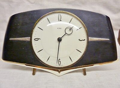 retro french clock metamec 8 day 7 jewels works french movement black gold 1960s
