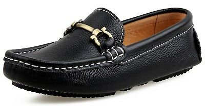 SKOEX Boy's Black Leather Loafers Slip On Boat Shoes size 27 NWOB