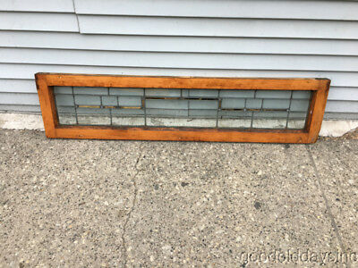 "Antique Leaded Glass Transom Window 50"" by 12"""