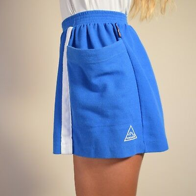 Vtg 80s electric blue jersey JORDACHE high waist SPORTY stripe hot pants shorts