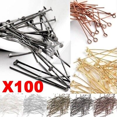 100-pcs Eye Pin/Head Pin/Ball Pin 21 Gauge Finding For Jewelry Making 15-70mm
