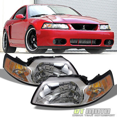 1999 2000 2001 2002 2003 2004 Ford Mustang Headlights Headlamps Left+Right 99-04