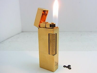 DUNHILL Rollagas Lighter Gold Gas leaks W/4p O-rings Auth Swiss (e