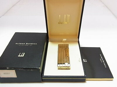 DUNHILL Rollagas Lighter d Mark Silver Gold Stripe Gas leaks W/4p O-rings W/Box