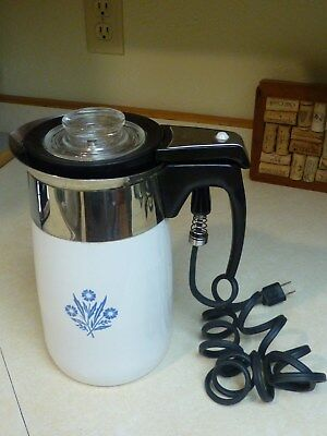 Corning Ware ~ Cornflower Blue 10 Cup Electric Percolator Coffee Pot ~ Tested
